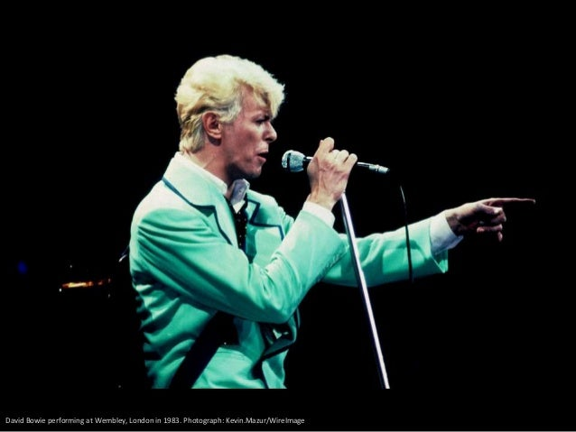 David Bowie performs on stage during the Live Aid concert at Wembley Stadium 1985 in London. Photograph: Georges De Keerle...