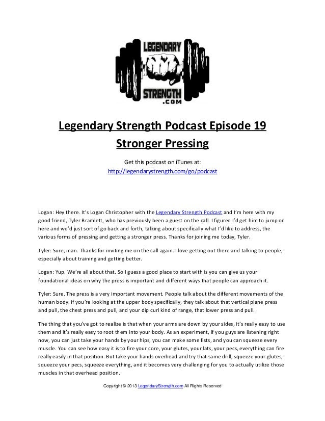 Legendary Strength Podcast Episode 19                  Stronger Pressing                                    Get this podca...