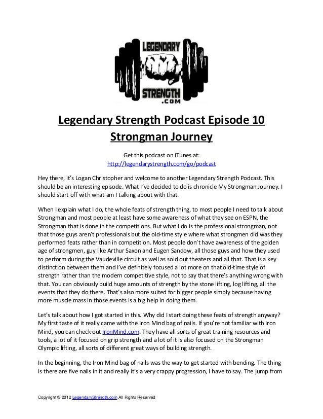 Legendary Strength Podcast Episode 10                   Strongman Journey                                        Get this ...