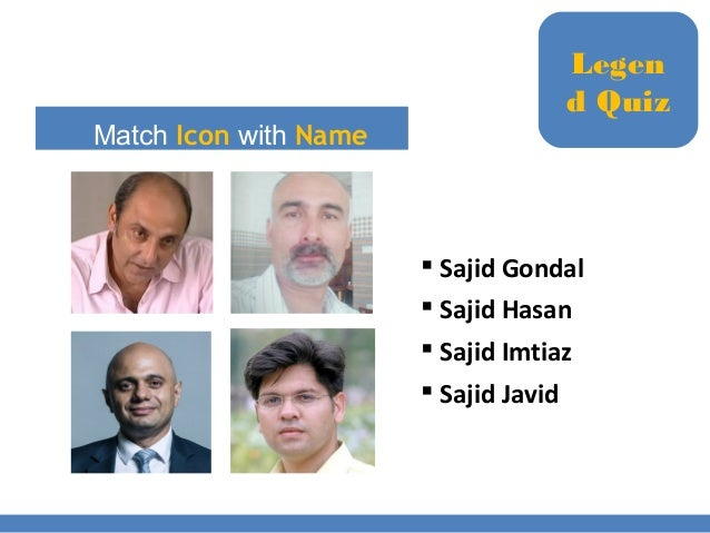 Match Icon with Name  Sajid Gondal  Sajid Hasan  Sajid Imtiaz  Sajid Javid Legen d Quiz