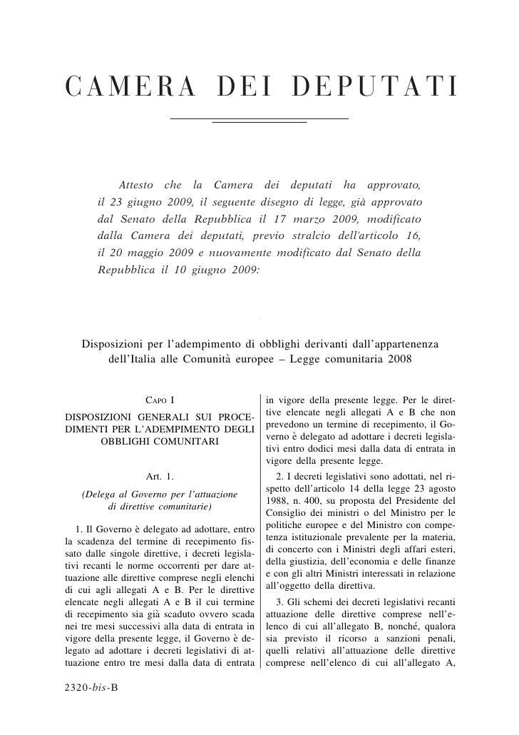 Disposizioni per l'adempimento di obblighi derivanti dall'appartenenza                                  `          dell'It...