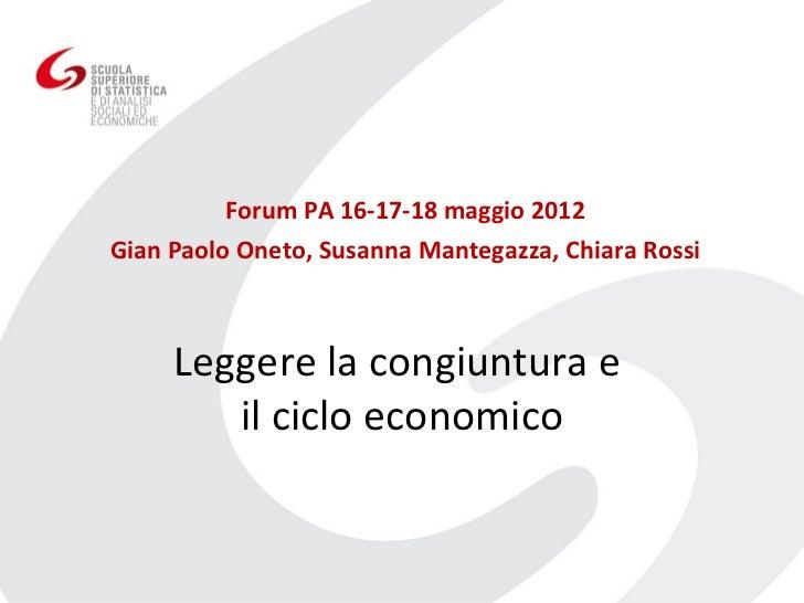 Forum PA 16-17-18 maggio 2012Gian Paolo Oneto, Susanna Mantegazza, Chiara Rossi     Leggere la congiuntura e        il cic...