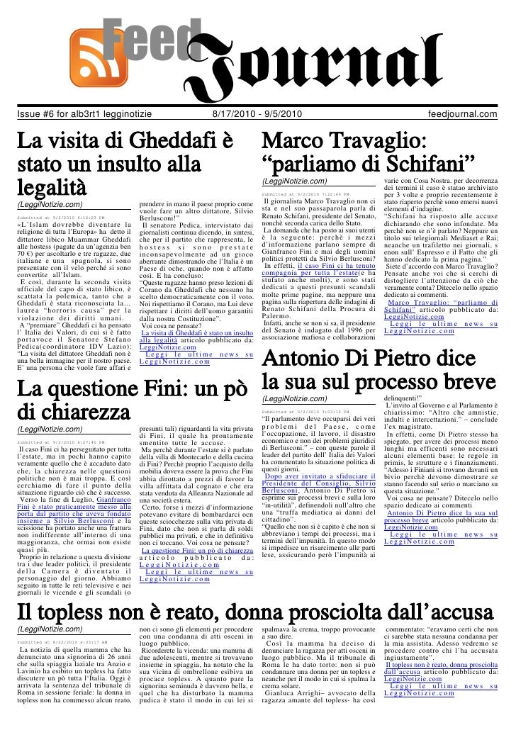 Issue #6 for alb3rt1 legginotizie                                      8/17/2010 - 9/5/2010                               ...