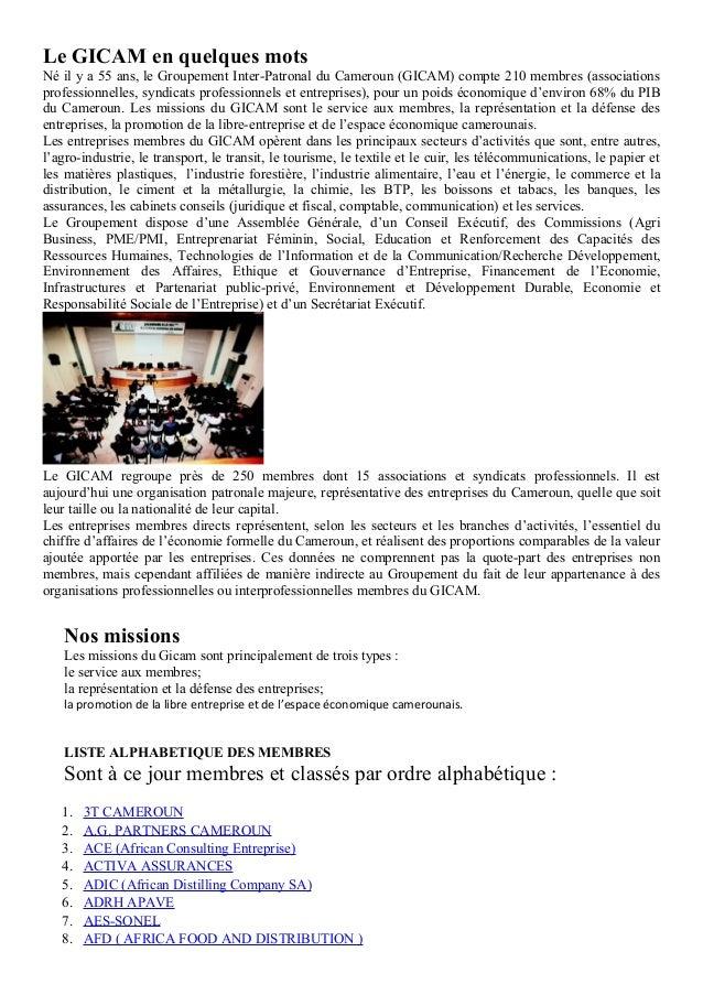Le GICAM en quelques motsNé il y a 55 ans, le Groupement Inter-Patronal du Cameroun (GICAM) compte 210 membres (associatio...