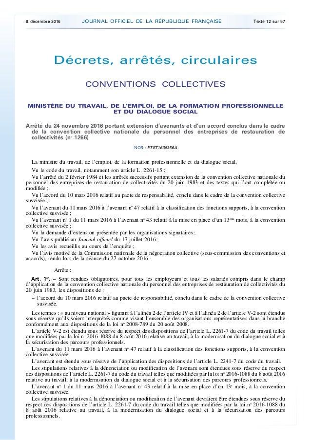 Legifrance jorf n 285 du 8 decembre 2016 for Emploi gerant de restauration collective
