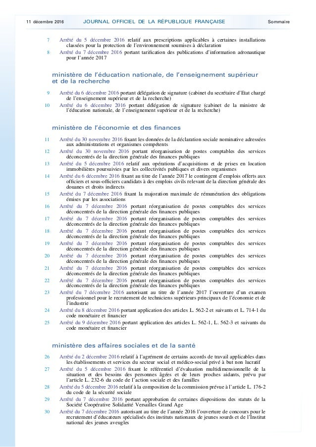 Legifrance Jorf N 288 Du 11 Decembre 2016