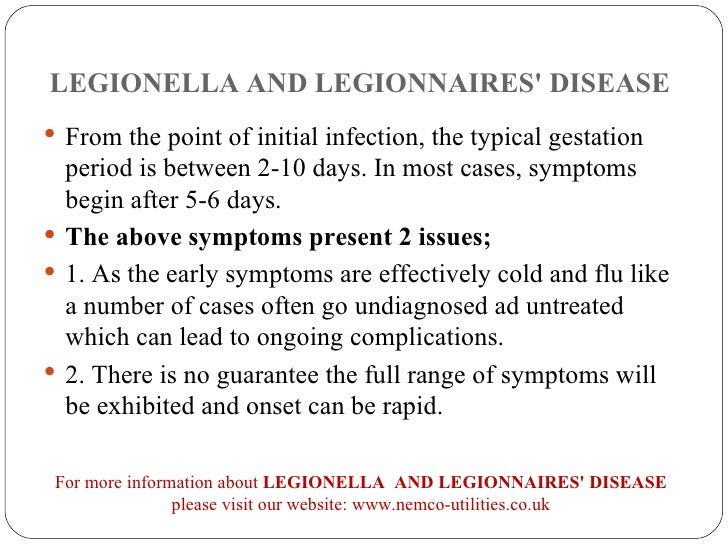 the cause and symptoms of the legionnaires disease Legionnaires' disease: today and in 1976 oct 6 symptoms of legionnaires' disease are similar to those of pneumonia 221 thirty-four people died while centers for disease control and prevention (cdc) epidemiologists investigated the disease, searching for the cause.
