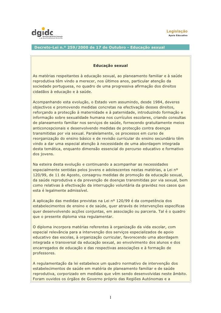 Legislação                                                                       Apoio Educativo     Decreto-Lei n.º 259/2...