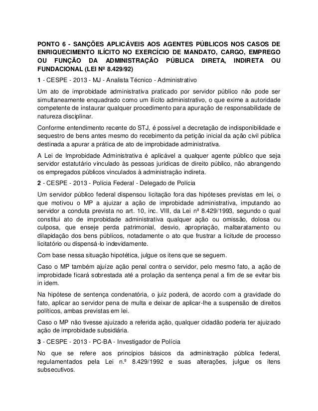 PONTO 6 - SANÇÕES APLICÁVEIS AOS AGENTES PÚBLICOS NOS CASOS DE ENRIQUECIMENTO ILÍCITO NO EXERCÍCIO DE MANDATO, CARGO, EMPR...
