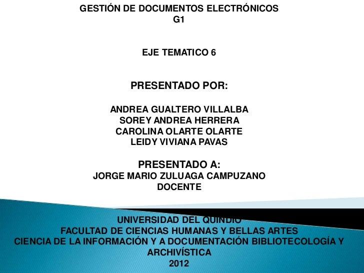 GESTIÓN DE DOCUMENTOS ELECTRÓNICOS                            G1                       EJE TEMATICO 6                     ...