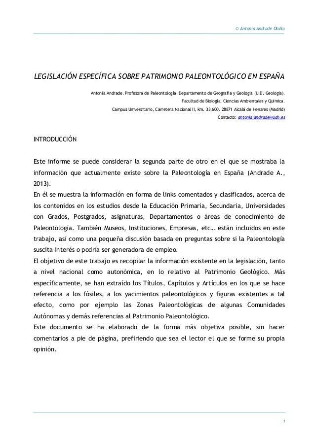 © Antonia Andrade Olalla 1 LEGISLACIÓN ESPECÍFICA SOBRE PATRIMONIO PALEONTOLÓGICO EN ESPAÑA Antonia Andrade. Profesora de ...