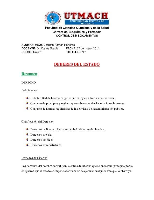 Facultad de Ciencias Químicas y de la Salud Carrera de Bioquímica y Farmacia CONTROL DE MEDICAMENTOS ALUMNA: Mayra Lissbet...