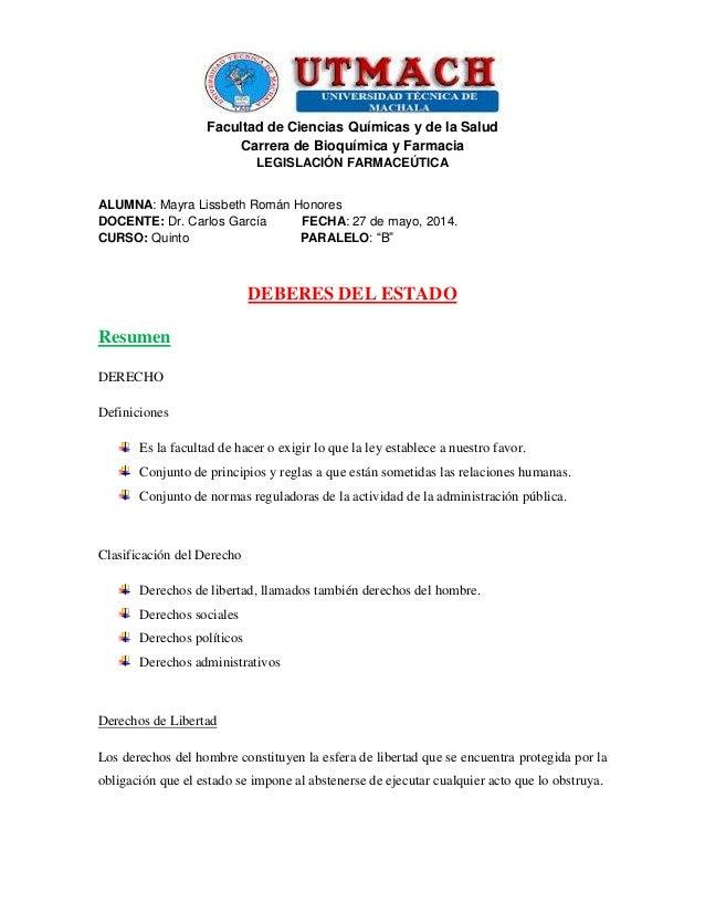 Facultad de Ciencias Químicas y de la Salud Carrera de Bioquímica y Farmacia LEGISLACIÓN FARMACEÚTICA ALUMNA: Mayra Lissbe...