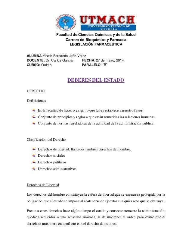 Facultad de Ciencias Químicas y de la Salud Carrera de Bioquímica y Farmacia LEGISLACIÓN FARMACEÚTICA ALUMNA:Yiceth Fernan...