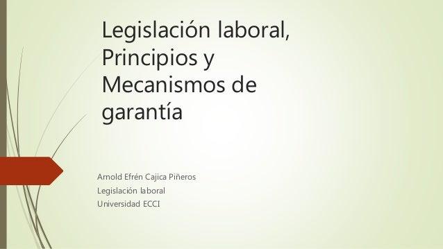 Legislación laboral, Principios y Mecanismos de garantía Arnold Efrén Cajica Piñeros Legislación laboral Universidad ECCI