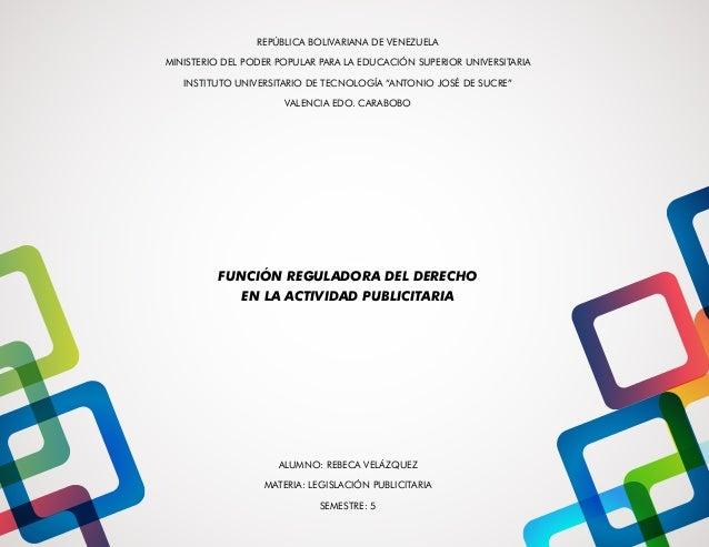 REPÚBLICA BOLIVARIANA DE VENEZUELA  MINISTERIO DEL PODER POPULAR PARA LA EDUCACIÓN SUPERIOR UNIVERSITARIA  INSTITUTO UNIVE...