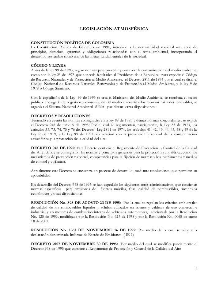LEGISLACIÓN  DE SECTOR DE EMISIONES ATMOSFÉRICAS EN COLOMBIA