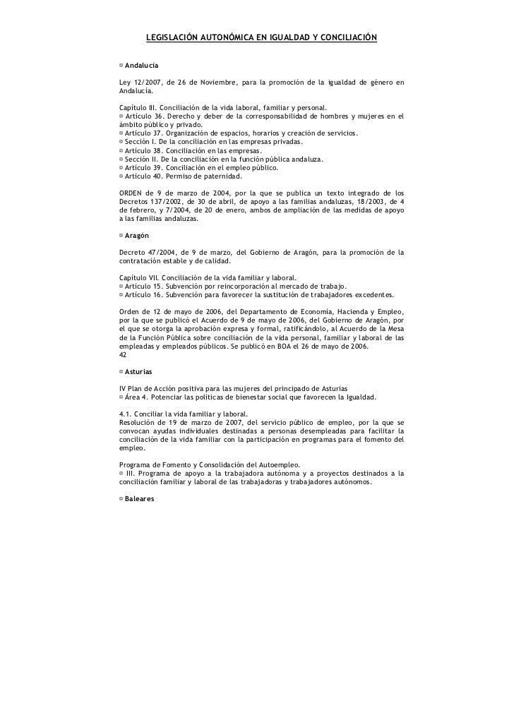 LEGISLACIÓN AUTONÓMICA EN IGUALDAD Y CONCILIACIÓN AndalucíaLey 12/2007, de 26 de Noviembre, para la promoción de la iguald...