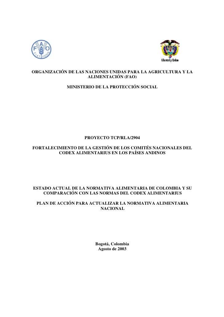 ORGANIZACIÓN DE LAS NACIONES UNIDAS PARA LA AGRICULTURA Y LA                     ALIMENTACIÓN (FAO)             MINISTERIO...