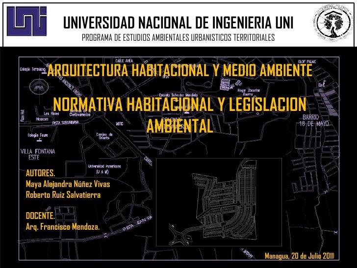 UNIVERSIDAD NACIONAL DE INGENIERIA UNI                 PROGRAMA DE ESTUDIOS AMBIENTALES URBANISTICOS TERRITORIALES      AR...