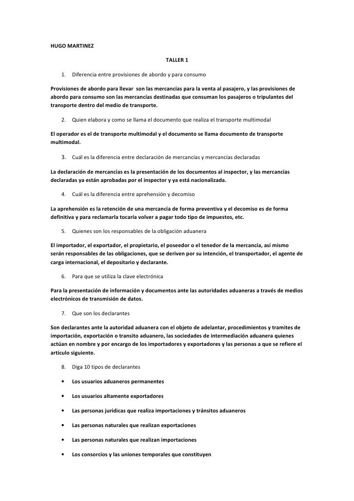 HUGO MARTINEZ                                                      TALLER 1      1.   Diferencia entre provisiones de abor...