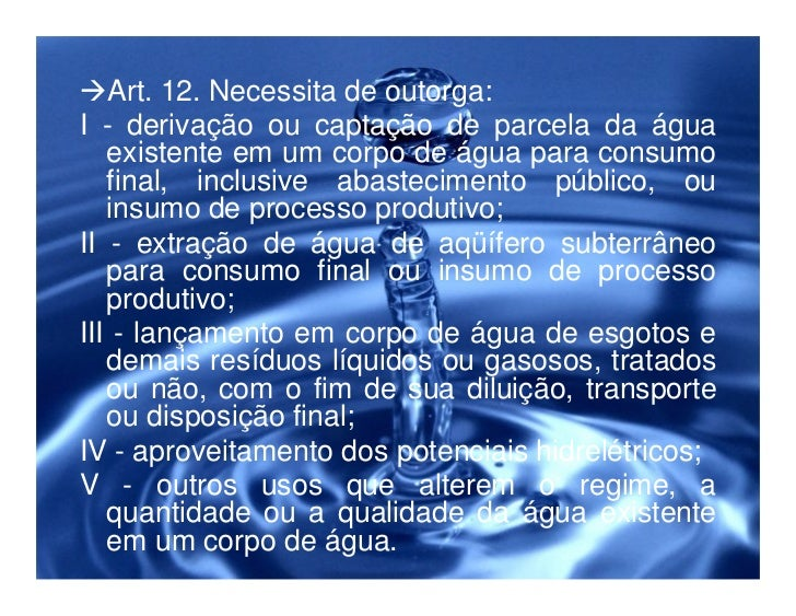 Legislação ambiental e a proteção dos recursos hídricos Slide 33
