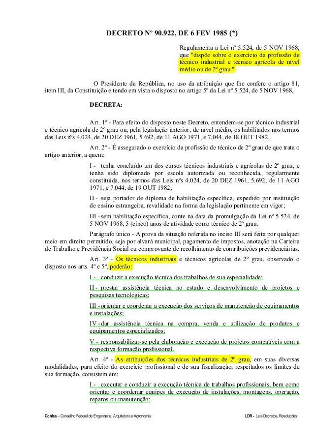 Confea – Conselho Federal de Engenharia, Arquitetura e Agronomia LDR - Leis Decretos, Resoluções DECRETO Nº 90.922, DE 6 F...