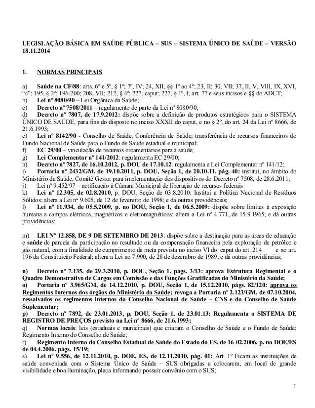 LEGISLAÇÃO BÁSICA EM SAÚDE PÚBLICA – SUS – SISTEMA ÚNICO DE SAÚDE – VERSÃO  18.11.2014  1. NORMAS PRINCIPAIS  a) Saúde na ...