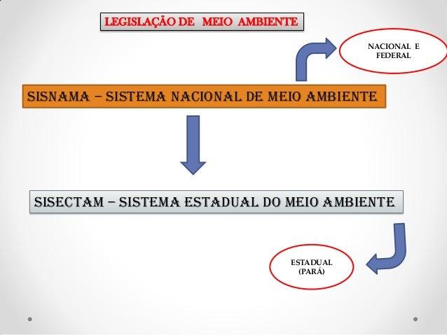 LEGISLAÇÃO DE MEIO AMBIENTE NACIONAL E FEDERAL  SISNAMA – SISTEMA NACIONAL DE MEIO AMBIENTE  SISECTAM – SISTEMA ESTADUAL D...