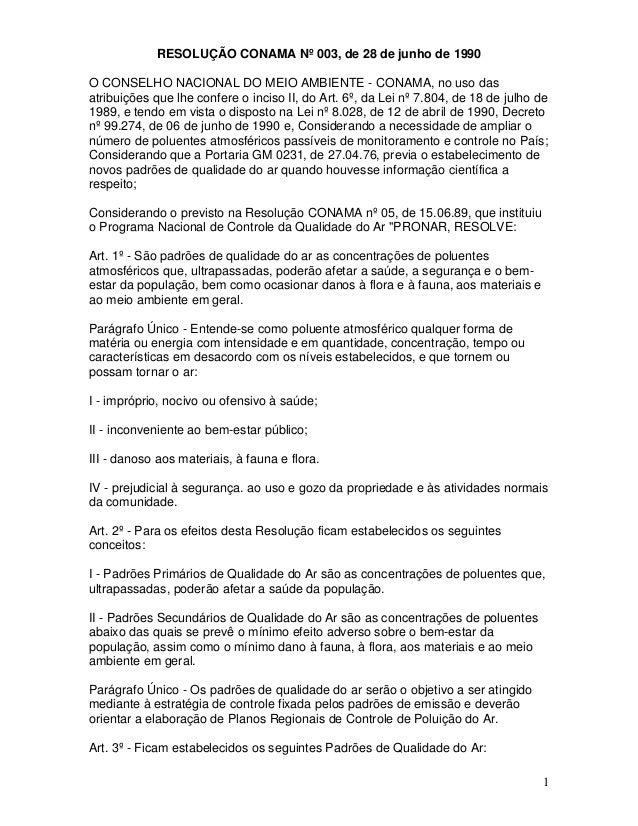 1 RESOLUÇÃO CONAMA Nº 003, de 28 de junho de 1990 O CONSELHO NACIONAL DO MEIO AMBIENTE - CONAMA, no uso das atribuições qu...