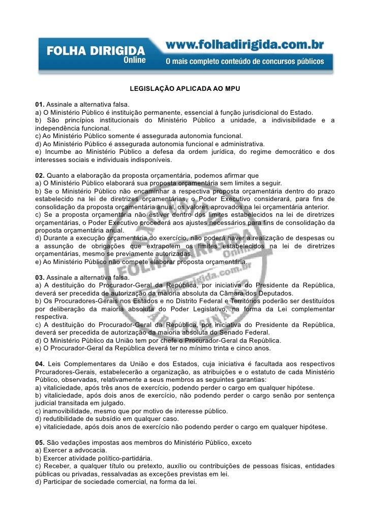 Legislação MPU - 1