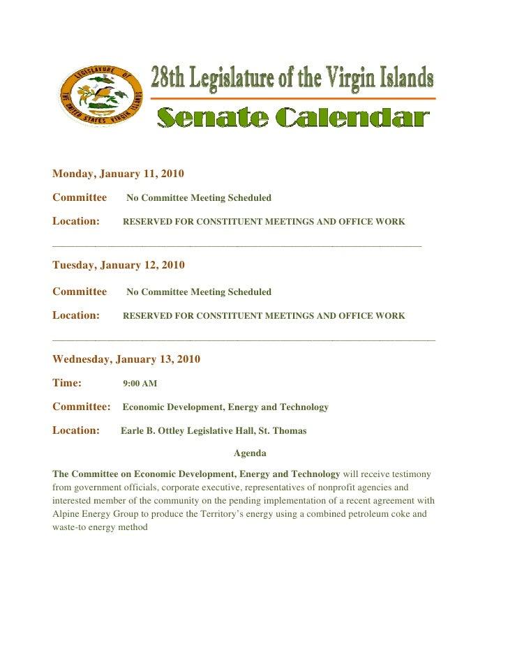Monday, January 11, 2010       ,  Committ       tee         No Committee Meeting Sc                      C           ...
