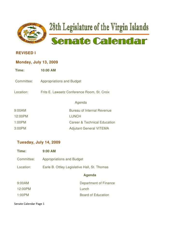 REVISED I     R     D      Monday, July 13, 2009     M                2      Time:     T              10:00 AM     ...