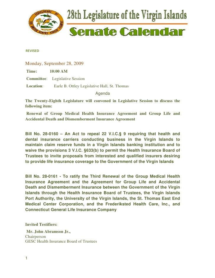 REVISED   Monday Septemb 28, 200      y,      ber     09 Time:         10:00 AM Commit      ttee:     Legis              ...