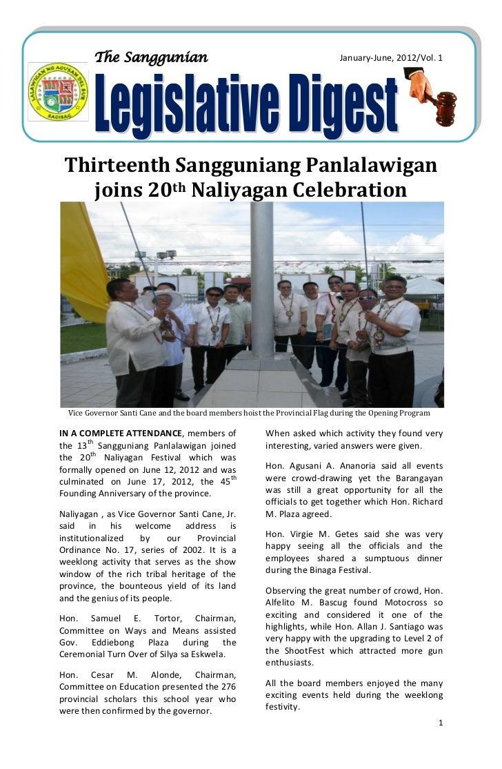 The Sanggunian                                                     January-June, 2012/Vol. 1 Thirteenth Sangguniang Panlal...