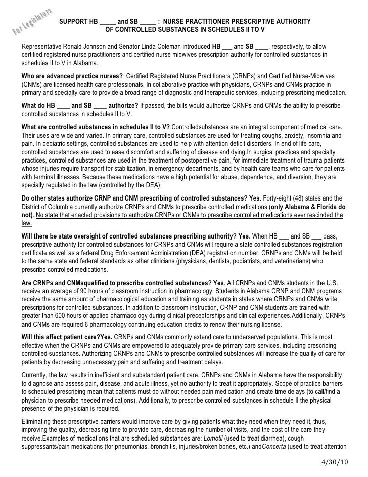 SUPPORT HB _____ and SB _____ :  NURSE PRACTITIONER PRESCRIPTIVE AUTHORITY <br />OF CONTROLLED substances in Schedules II ...
