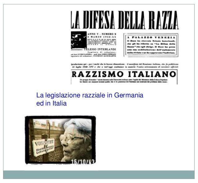 La legislazione razziale in Germania ed in Italia
