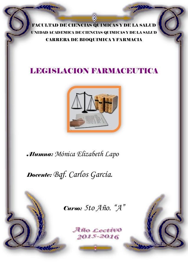 FACULTAD DE CIENCIAS QUIMICAS Y DE LA SALUD UNIDAD ACADEMICA DE CIENCIAS QUIMICAS Y DE LA SALUD CARRERA DE BIOQUIMICA Y FA...