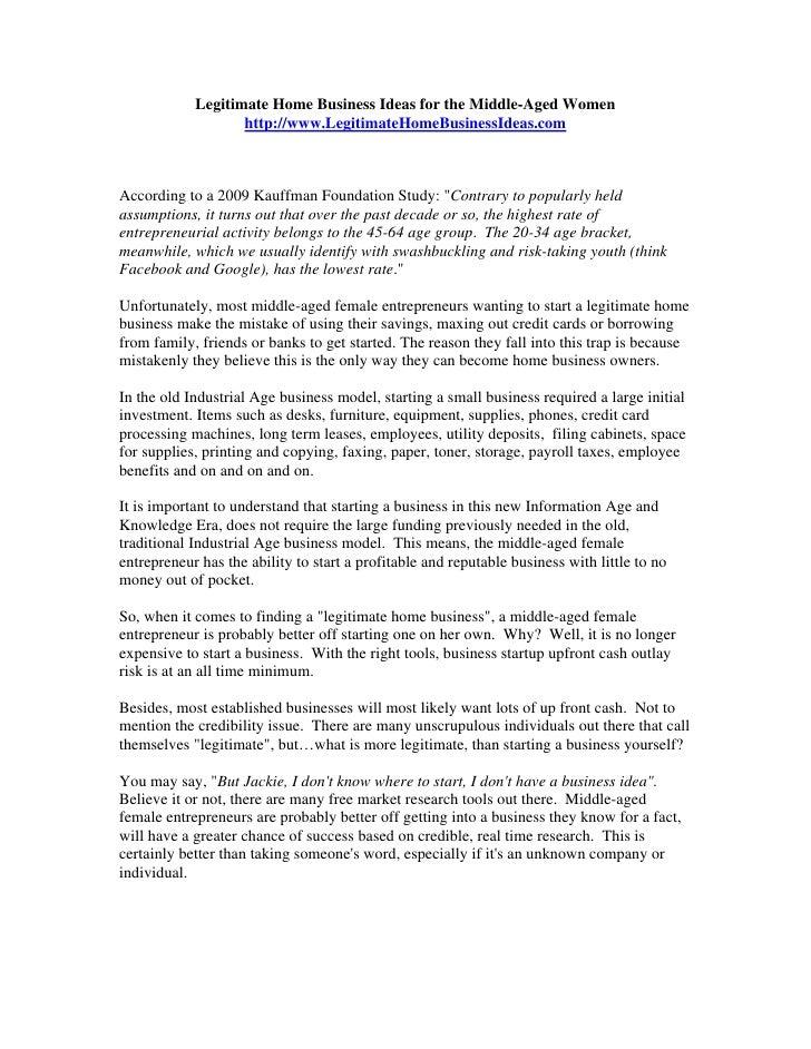 Legitimate Home Business Ideas for the Middle-Aged Women                    http://www.LegitimateHomeBusinessIdeas.com    ...