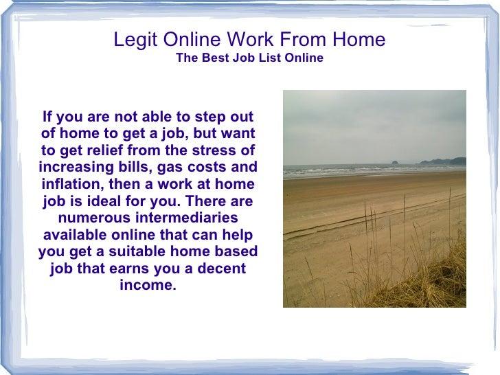 Legit Internet Work From Home Job