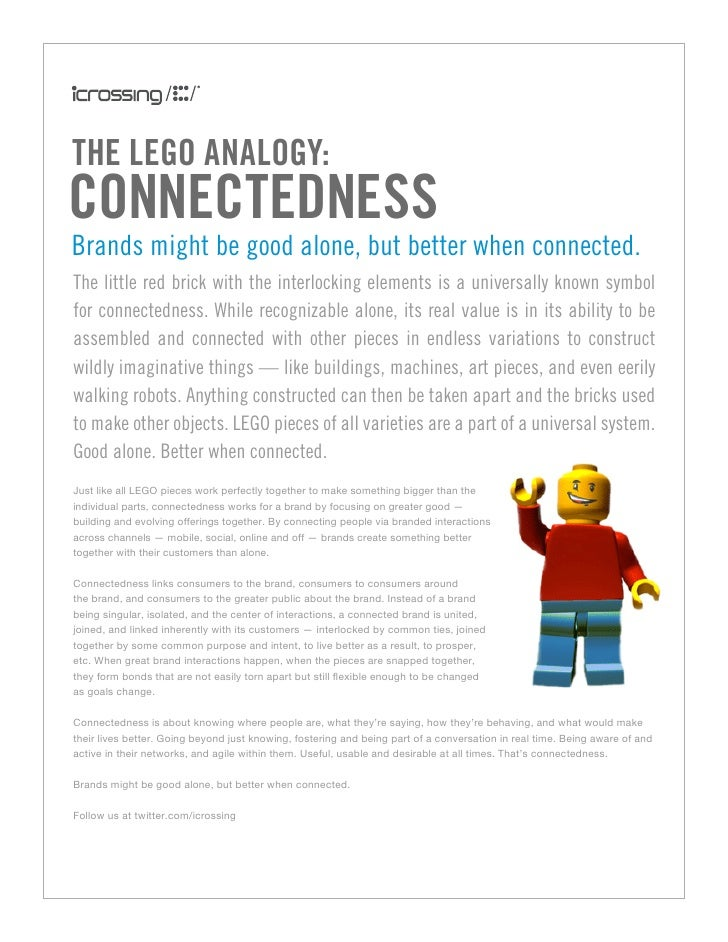 the LeGo anaLoGy: ConneCtedness Brands might be good alone, but better when connected. The little red brick with the inter...
