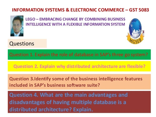 explain the role of the database in sap s three tier system The main role of the database is as an information storage system the relational database contain the tables that store data on lego's products, daily operations, the supply chain, and thousands of employees using the sap query tool, users are able to toggle and tabulate data and extract reports from the database.