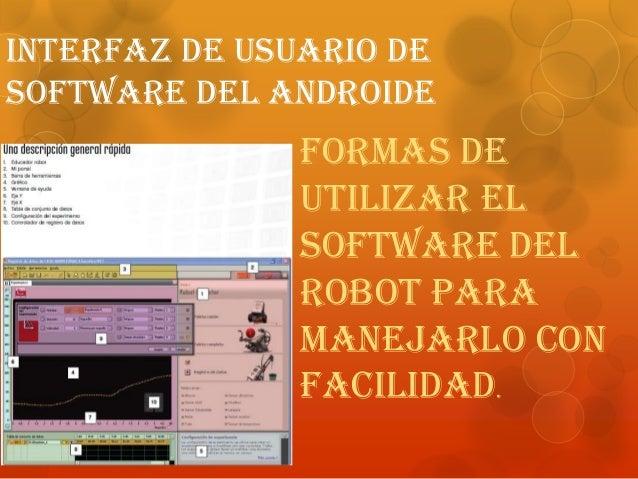 Interfaz de usuario de software del androide Formas de utilizar el software del robot para manejarlo con facilidad.