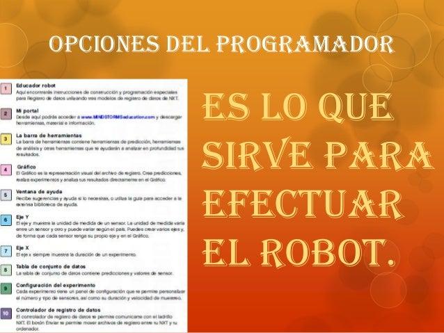 Opciones del programador Es lo que sirve para efectuar el robot.
