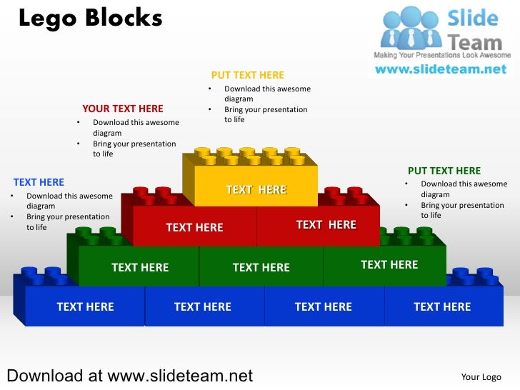 lego blocks and pieces stacked on top of one another powerpoint diag