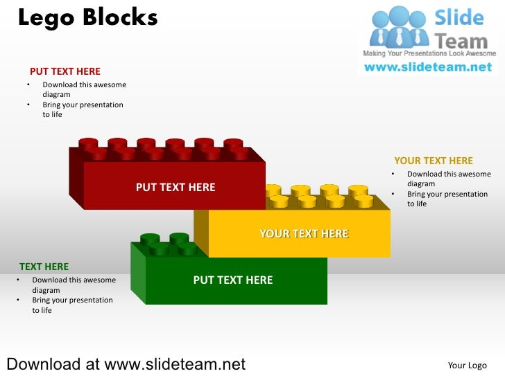Lego blocks and pieces stacked on top of one another powerpoint diag 3 lego blocks ccuart Images