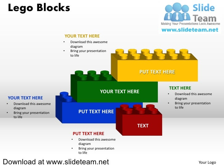 Lego blocks and pieces stacked on top of one another powerpoint diag 4 lego blocks ccuart Images