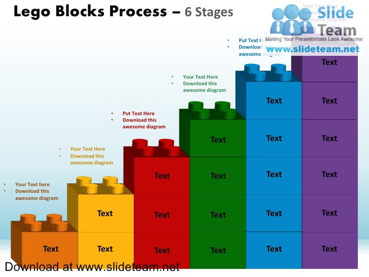 •   Your Text Here    Lego Blocks Process – 6 Stages                                                                      ...