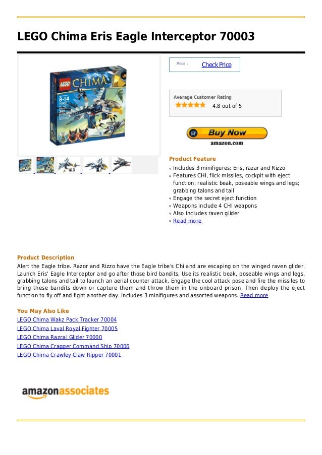LEGO Chima Eris Eagle Interceptor 70003                                                                Price :            ...