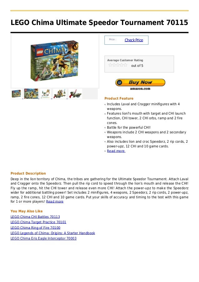 LEGO Chima Ultimate Speedor Tournament 70115                                                                Price :       ...